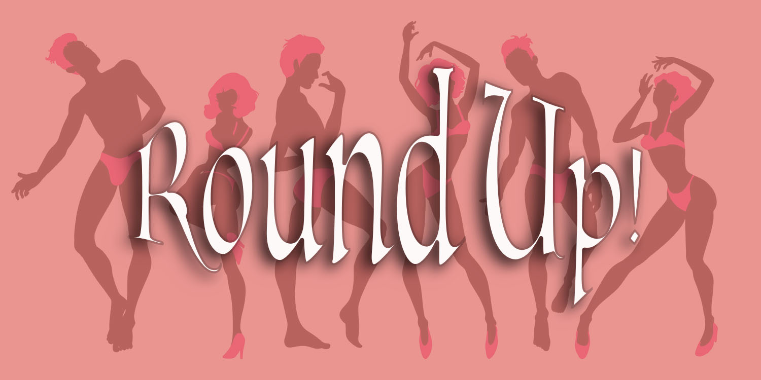 Dancing silhouette figures in pink lingerie and hot pink hair with the words Round-Up over top